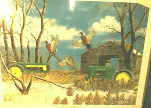 "JOHN DEERE TRACTOR ART PRINT ""PHEASANTS AMONG DEERE"" by R. HINTON - LTD ED"