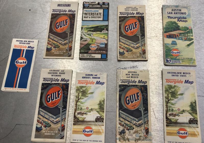 Vintage Gulf Travel Maps Gas Station New Mexico Texas Arizona Oklahoma Lot Of 9
