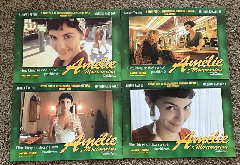 Original 2001 (4) AMELIE Czech Movie Lobby Cards, 8 1/2 x 12