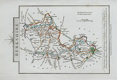 BERKSHIRE 1828 Miniature Antique Map by Cary Hand Coloured
