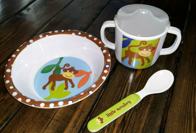 Kids 3 piece Feeding Monkey Set~ Bowl, Cup, and spoon