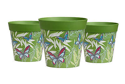 Hum Flowerpots, Plant Pots, set of 3 green butterfly pots, colourful planters...