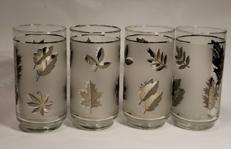 """Libbey Mid Century Silver Frosted Leaf Tumblers 5.5"""" Glasses Set of 4"""