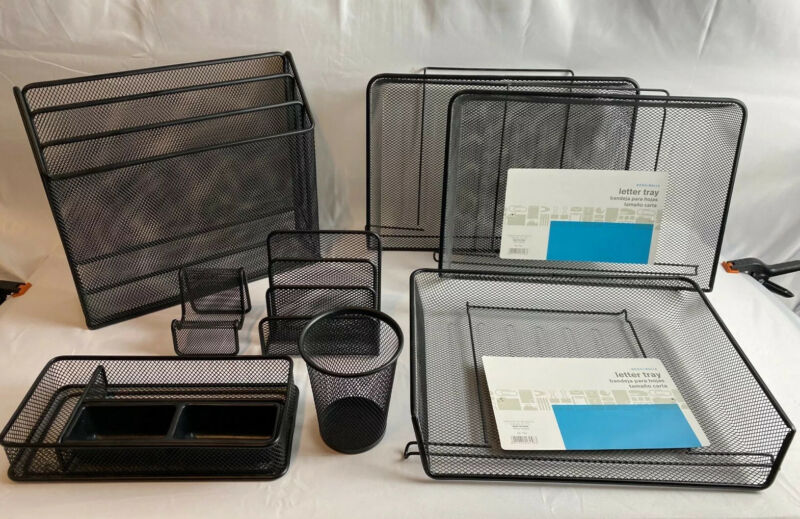 Lot Of 8 Office Black Metal Mesh Organizing Desk Accessories