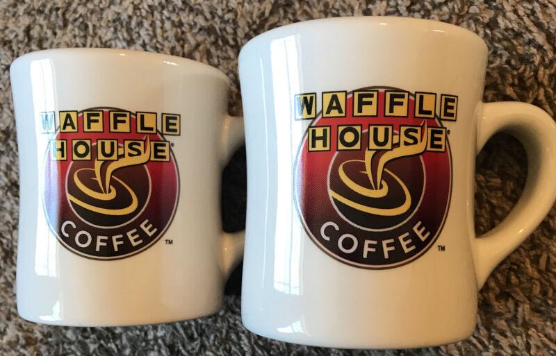 Vintage WAFFLE HOUSE COFFEE CUP MUG Heavy Ceramic TUXTON- Set of 2