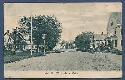 West Baldwin Main Street Maine me 1908 litho postcard