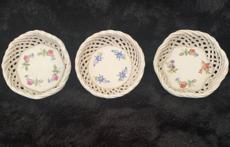 Vintage Hungarian Open Woven Basket 3 Dishes Porcelain Hand Painted with Florals