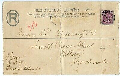 MAILDIVE ISLANDS CEYLON REG ENV OVERPRINTED 1907, STAMPS REMOVED, RARE   (B734)