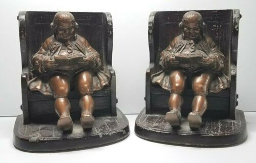 RARE Benjamin Franklin Seated On Settle Bench Reading A Book Metal Bookends Pair
