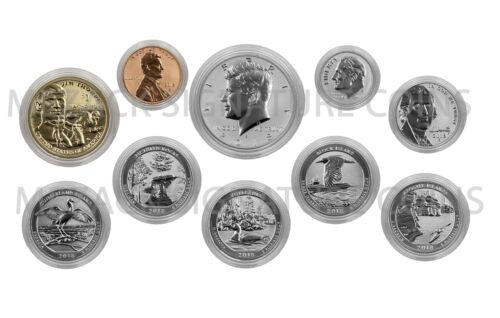 2018-S Silver Reverse Proof 50th Ann Set 10-Coin Encapsulated
