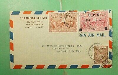 DR WHO 1951 HAITI OVPT PORT AU PRINCE AIRMAIL T USA  g18647