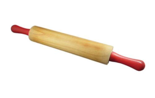 """UNBRANDED wooden plastic red handled 18"""" rolling pin vintage 1970"""