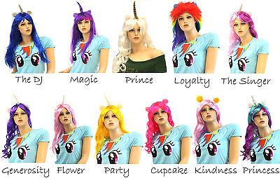 Unicorn Costume Wig (Adult Unicorns Friendship Mythical Magic Pony Unicorn Horn Ears Hair Costume)