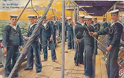 POSTCARD   MILITARY  NAVY   On the Bridge of the Flagship