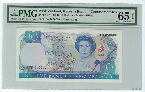 "1990 New Zealand,Reserve Bank, QE II $10 P-176 ""COMMEMORATIVE"" PMG 65 EPQ"