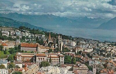 AK Lausanne - Vue générale aérienne. Lac Leman et les Alpes