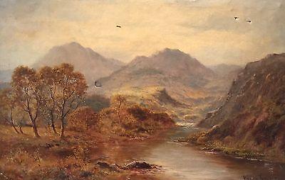 HENRY COOPER (British 19thC) AUTUMNAL SCOTTISH RIVER HIGHLAND LANDSCAPE SIGNED