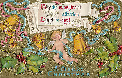1910 Cupid  Cherubim Ringing Christmas Bells  Gold Background Great Postcard