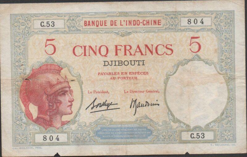 French Somaliland 5 Francs ND. 1926 P 6b  Circulated Banknote Rare