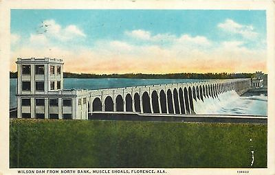 Florence Al Muscle Shoals Wilson Dam  North Bank 1933 Postcard