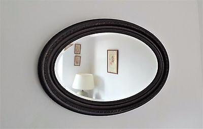 Vtg Edwardian Dark Wood Oval Bevelled Overmantle Wall Hall Mirror Large Frame