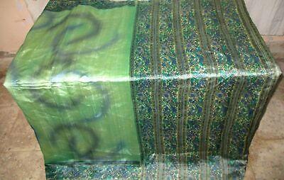 Pure silk Antique Vintage Sari EXOTIC 4Y S18 218 Pista Grey UK #ABGN7