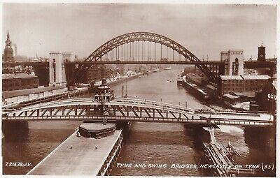 NEWCASTLE-ON-TYNE, TYNE AND SWING BRIDGES, REAL PHOTO BY VALENTINE'S