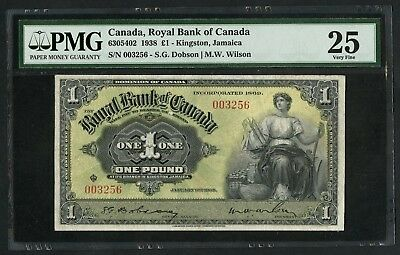 Royal Bank Of Canada Jamaica 1938  1  630 54 02 Pmg 25 Vf  Ext Rare Wlm5491