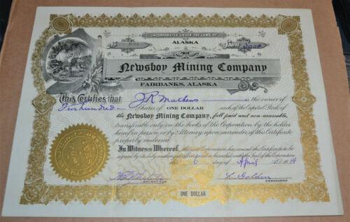 Newsboy Mining Company 1914 antique stock certificate – Fairbanks, Alaska