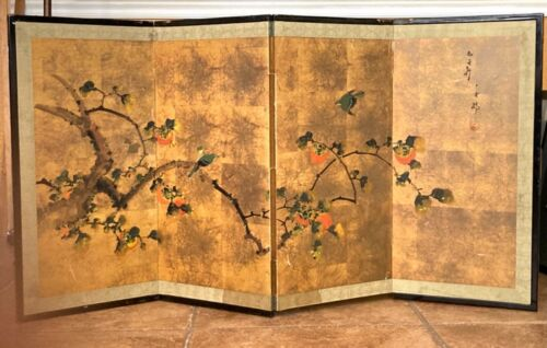 Rare Vintage Beautiful Japan Hand Painted 4 Panel Byobu Screen Persimmon Tree