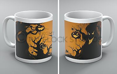 Halloween Mug Spooky Forest Bats Spiders Crows Ghosts Trees Pumpkin Present Gift ()