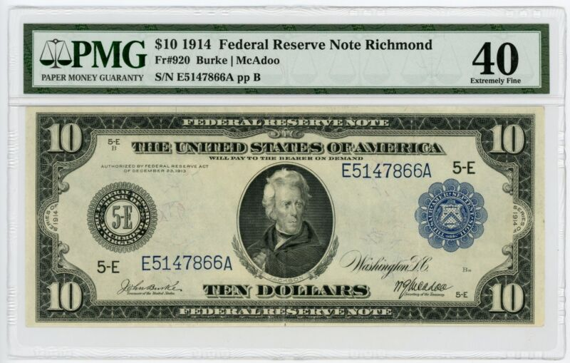 1914 Fr.920 $10 United States (Richmond, VA) Federal Reserve Note - PMG XF 40