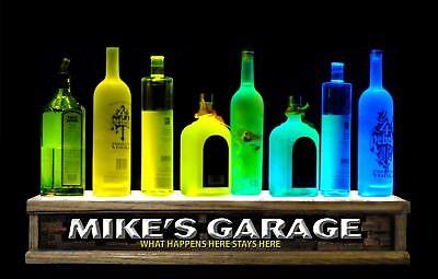 2 Lighted Liquor Bottle Display Shelf Shot Glass Display Garage Bar Sign Led