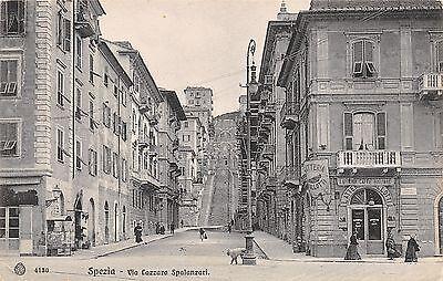 8953) SPEZIA VIA SPALLANZANI, SCALINATA, LATTERIA CAVALLOTTI, VESPASIANO.