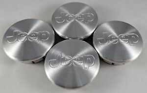 4x JEEP 55MM Wheel Center Cover Cap Aluminum Silver Jeep Grand Cherokee Wrangler