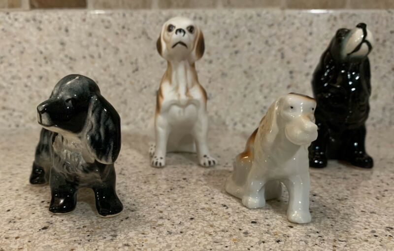 Set of 4 Dog Figurines Doggy Puppy