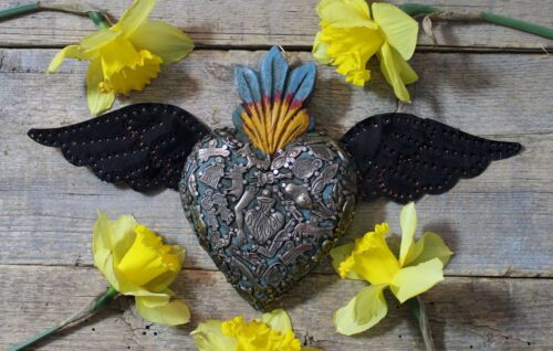 Handmade Wood Blue Heart Tin Wings & Milagros Miracle Mexico Folk Art Michoacán