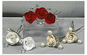 6x Rose Hair Pins Red Ivory or Cream with Swarovski Crystals  - Bridal Accessory