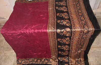 Pure silk Antique Vintage Sari EXOTIC 4Y S22 267 Maroon Black UK #ABGP0
