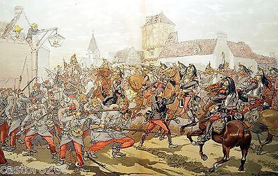 Print 19è Combat of Cavalry Eugène Courboin Letterpress Card 1886 Gillott