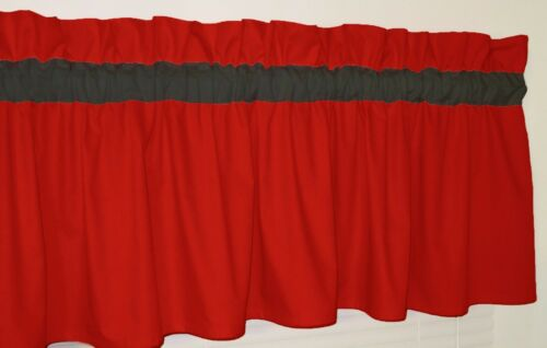 Solid Red and Black Curtain Valance Window Topper Bedroom School Team classroom