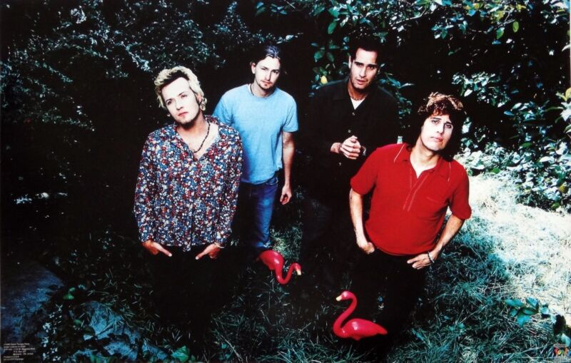 """STONE TEMPLE PILOTS """"GROUP WITH FLAMINGOS"""" POSTER - Grunge Rock, Scott Weiland"""