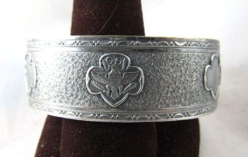 1947 Beautiful Girl Scout CUFF BRACELET Antique Silver Trefoils CHRISTMAS GIFT