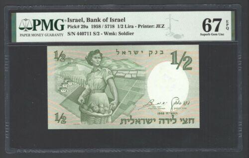 Israel 1/2 Lira 1958/5718 P29a Uncirculated Grade 67
