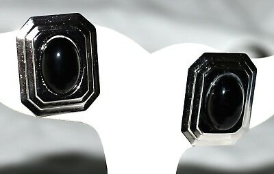 Vintage Signed CR Co Black Lucite &  3 Layered Sterling Silver Pierced Earrings