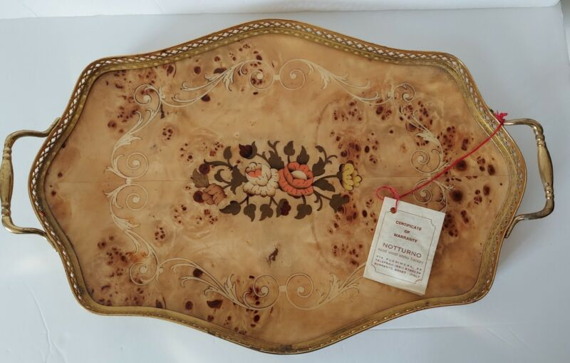 """""""STUNNING!"""" VINTAGE NOTTURNO Floral Inlaid Wood Oval Serving Platter """"Italy"""""""