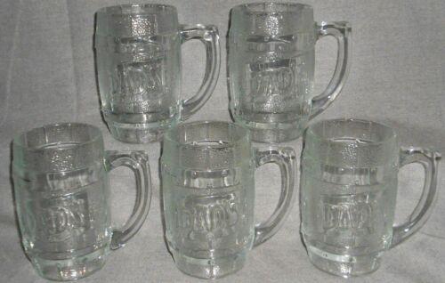 Set (5) Vintage HEAVY GLASS _ BARREL SHAPE Dad