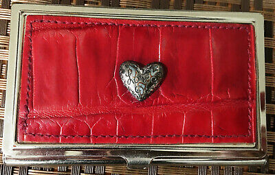 Brighton Croc Embossed Red Leather Love Heart Business Card Holder