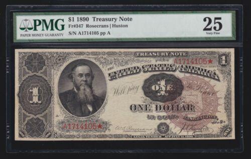 US 1890 $1 Treasury Note FR 347 PMG 25 Ch VF (-105)
