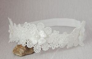Lace baby headband off white hair band baptism christening wedding by FairyDust